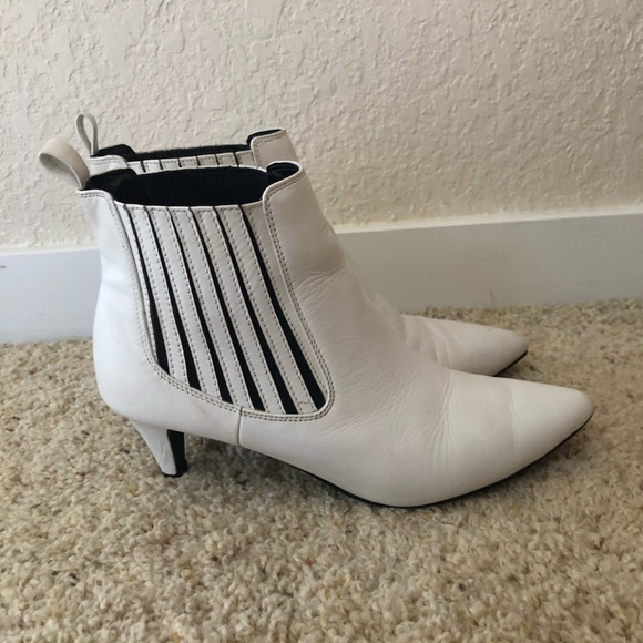 White Pointed Toe Kitten Heel Ankle